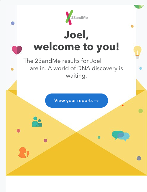 Email 23andMe sends to welcome you