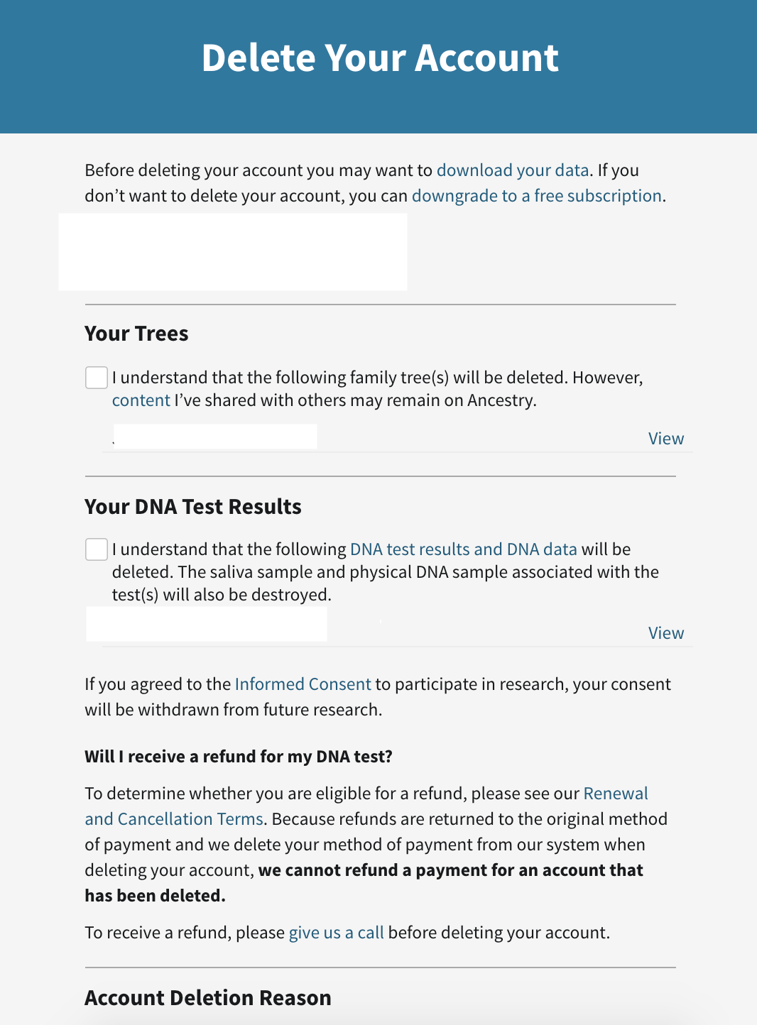 Confirmation text that Ancestry.com shows you before deleting your DNA data.