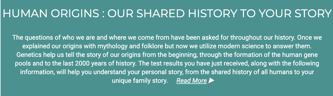 GPS Origins Human Origins: Our shared history to your story. Screen showing DNA through history.