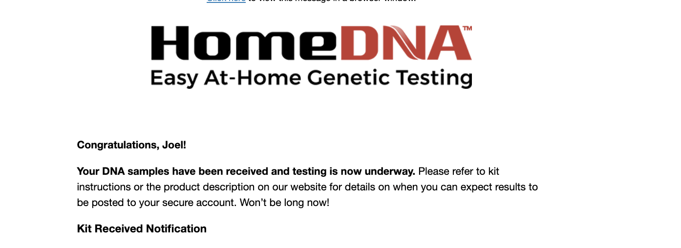 HomeDNA DNA email showing that the kit was received.