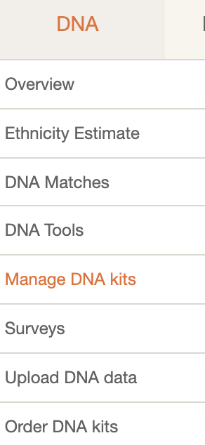 Navigation for MyHeritage DNA deletion.