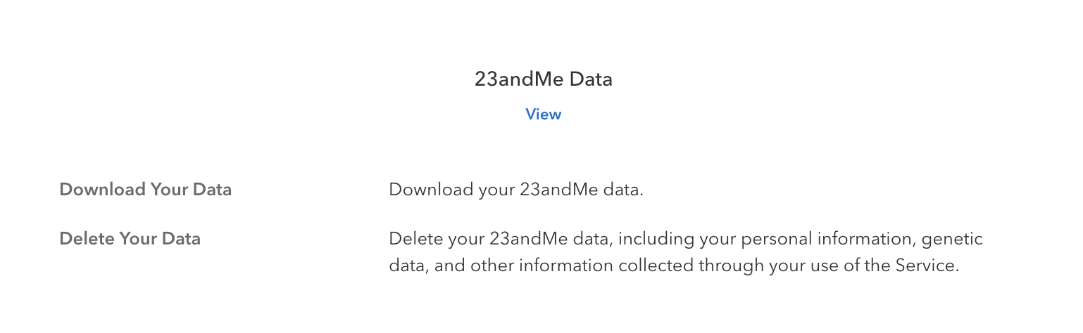 Section of 23andMe's website to delete DNA data.