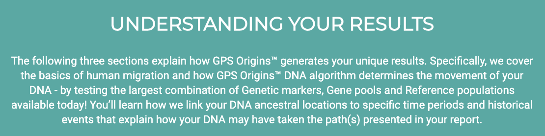 Three more sections for GPS Origins DNA test