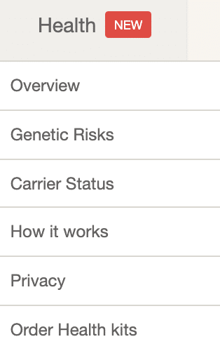 Screenshot of health section for MyHeritage DNA. This section allows you to explore your health attributes of your DNA.