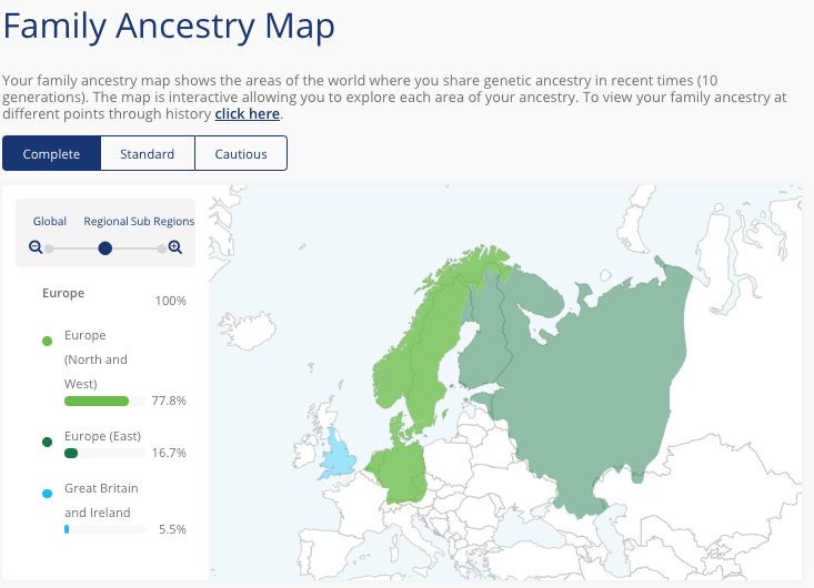 Screenshot of reviewers family ancestry map of living DNA test.
