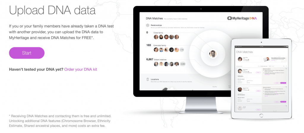 The screen of website section where you can upload your family members DNA.