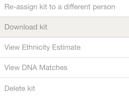Section that allows one to export DNA data.