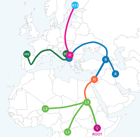 Screenshot of livingDNA's migration map for motherline. This allows you to see the movement of your ancestors.